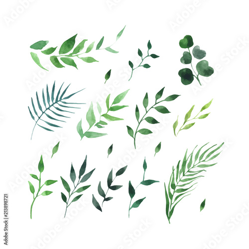 Obraz green leaves watercolor seamless pattern vector - fototapety do salonu