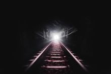 Dark Tunnel Of The Railroad An...