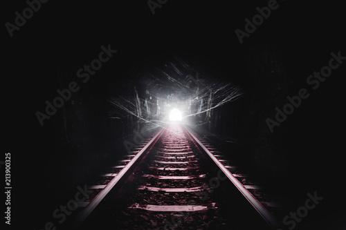 Dark tunnel of the railroad and cobweb or spider