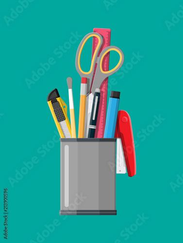Obraz na plátně  Pen holder office equipment.