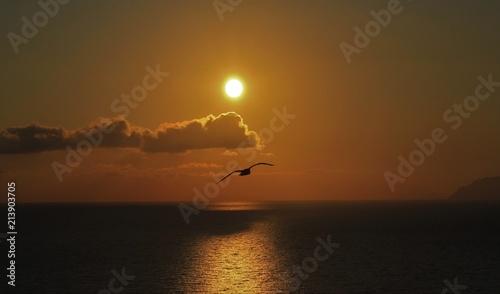 Deurstickers Australië coucher de soleil sur le mer Tyrrhénienne