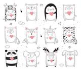 Fototapeta Fototapety na ścianę do pokoju dziecięcego - Vector line drawing collection of animals. Doodle illustration
