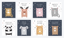 Vector Set Of Postcards With A...