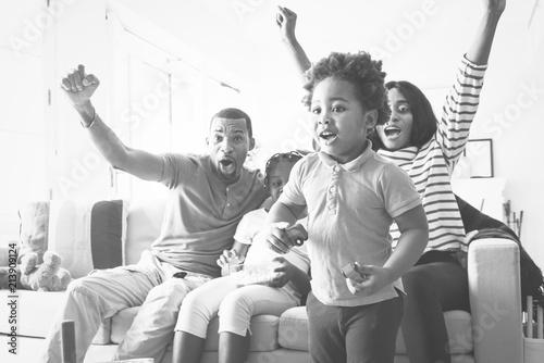 Deurstickers Illustratie Parijs African family spending time together