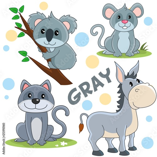 Set of cartoon gray illustrations with wild animals and pets for children and design, image of a bear, koala, cat, mouse, donkey.
