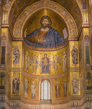 Interior Of Cathedral Santa Maria Nuova Is Famous For Its Byzantine Mosaics. Above Main Altar Is A Mosaic Depicting Christ Pantokrator