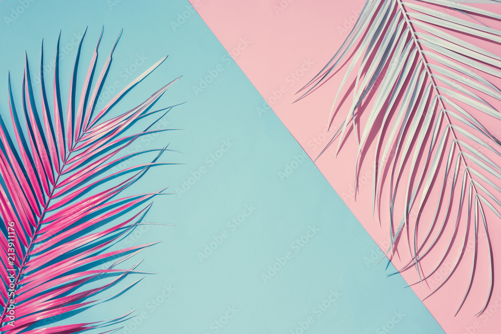 Fototapety, obrazy: Tropical bright colorful background with exotic painted tropical palm leaves. Minimal fashion summer concept. Flat lay.