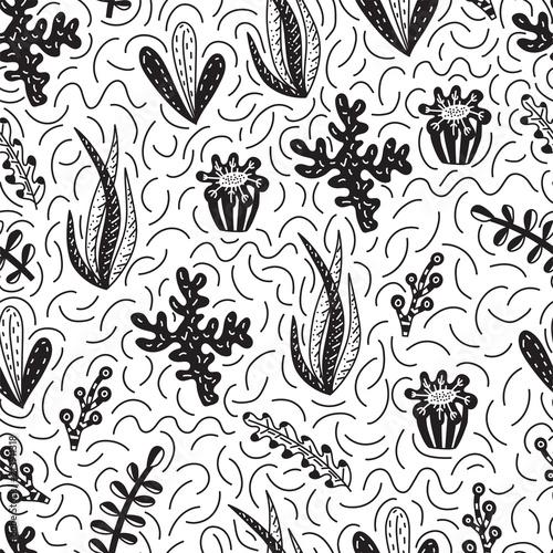 In de dag Kunstmatig Seamless pattern with cute seaweeds