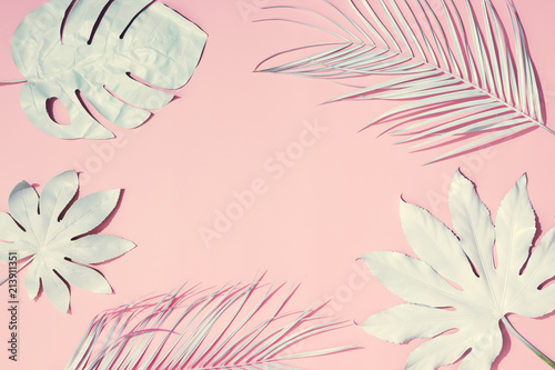 Fototapety, obrazy: Tropical bright pink background with exotic painted tropical palm leaves. Minimal fashion summer concept. Flat lay.