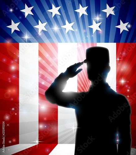 Aluminium Prints Superheroes American Soldier Saluting Flag Patriotic Design