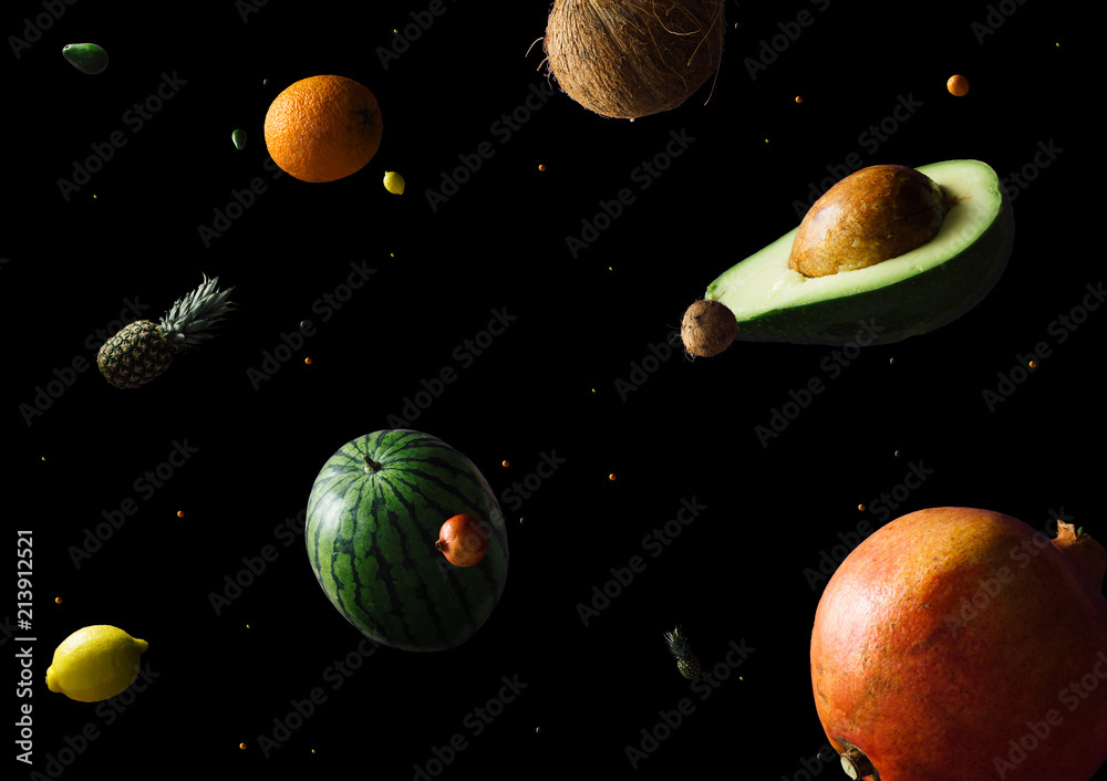 Fototapeta Space or planets universe cosmic abstract background. Abstract fruit background. Creative space. Summer food concept.