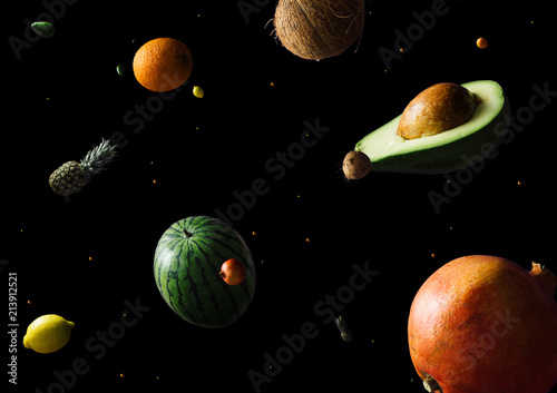 Space or planets universe cosmic abstract background. Abstract fruit background. Creative space. Summer food concept. - 213912521