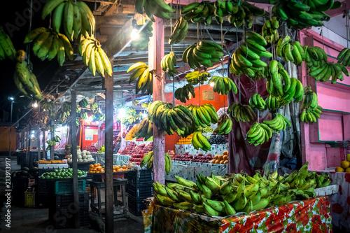 Fruit Indian street shop. Canvas Print