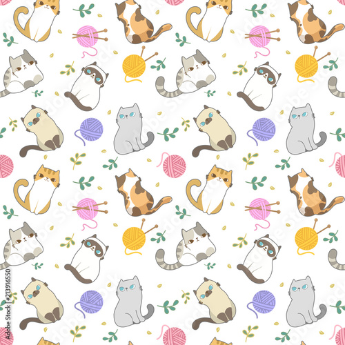 Vector Illustration Cats Seamless Pattern Different Type Of Cute Cartoon Cat On White Background It Can Be Print And Used As Wallpaper Packaging Wrapping Paper Fabric And Etc Buy This
