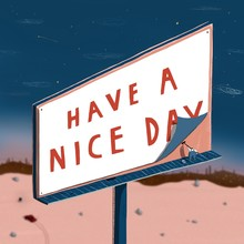 Man Putting Up Billboard Poster Have A Nice Day
