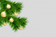 Merry Christmas and Happy New Year background with fir branches and christmas balls isolated on transparent background. Modern design. Universal background for poster, banners, flyers, card.