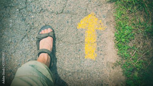 Fotografie, Obraz man walking on Camino de Santiago
