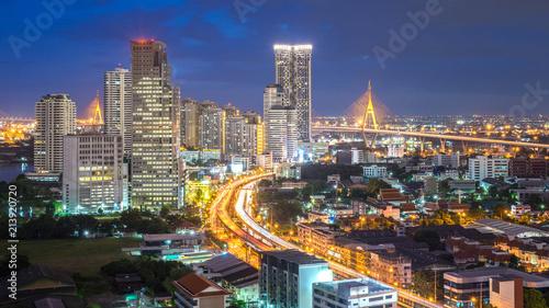 Foto op Canvas Brazilië Bangkok city - Aerial view of Bangkok city downtown cityscape urban skyline at night , landscape Thailand