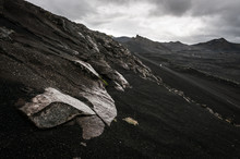 Rocky Black Land During Stormy Weather Near Landmannalaugar In Iceland