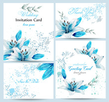 Blue Lily Watercolor Flower Blossom Card Set Vector. Vintage Greeting Poster, Wedding Invitation, Thank You Postcard. Summer Floral Decoration Bouquets