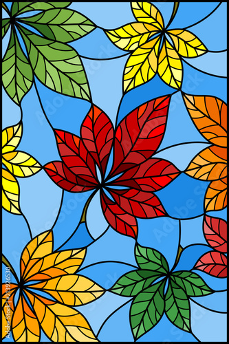 ilustracja-w-witrazu-stylu-z-kolorowymi-liscmi-kasztan-na-blekitnym-baackground