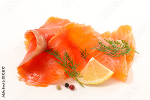 smoked salmon isolated on white Canvas