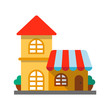 Restaurant, cafe flat design long shadow color icon