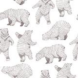Wektor bezszwowe tło z ręcznie rysowane śmieszne niedźwiedzie. Stylowy design Hipster. - 213932329