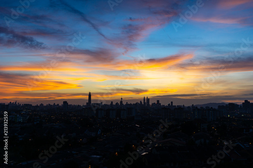 Majestic sunset over KL Tower and surrounded buildings in downtown Kuala Lumpur, Malaysia Poster