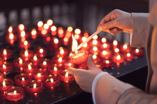 A Girl Is Holding Candle And P...