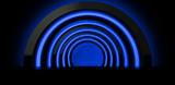 Fototapeta Fototapety przestrzenne i panoramiczne - Round arch is suspended by neon light, Neon background