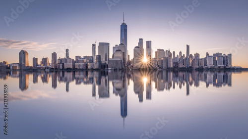 Manhattan skyline at sunset, New York City, USA - 213938159