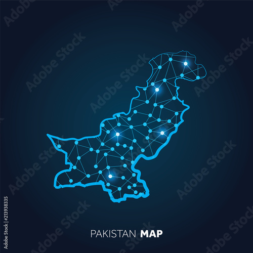 Map of Pakistan made with connected lines and glowing dots