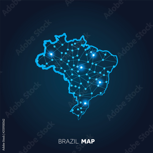Foto Map of Brazil made with connected lines and glowing dots.