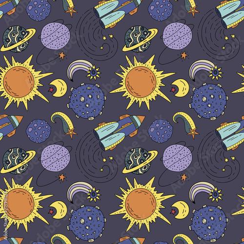 bezszwowe-wektor-wzor-z-kosmosu-doodle-ilustracje-elementy-galaxy-handdrawn