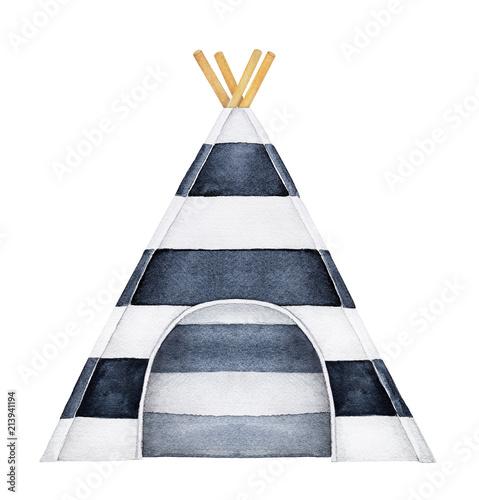 przytulne-tipi-ilustracja-namiot-jeden-pojedynczy-obiekt-czarno-biale-paski-piekny-wzor-wlokienniczy-widok-z-przodu-recznie-rysowane-akwarela-na-bialym-tle-element-clipart-na-bialym-tle