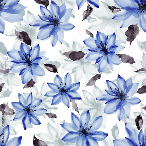 Beautiful Blue Flowers With Leaves On White Background Seamless