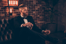 Posh Chic Wealthy Lifestyle Concept. Profile Side-view Portrait Of Serious Thinking Focused Concentrated Pensive Stylish Trendy Rich Arrogant Freelancer Chief Sharp-dressed Holding Cigar Beverage
