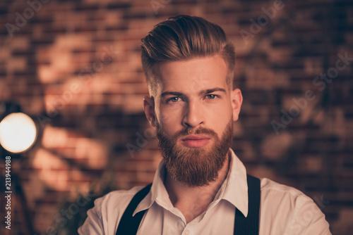 Close up portrait of handso...