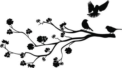 Naklejka Do salonu Ast mit Vögel Silhouette