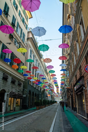 colored umbrellas over the street © Shooting Studio HF