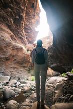 Silhouette Of Traveler Woman I...