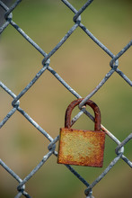 Rusted Lock On Fence