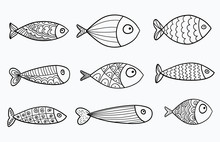 Set Of Vector Stylized Fishes....