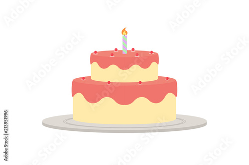Illustrated Drawing Of A Birthday Cake With Single Candle