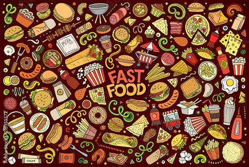 Fotografía Vector set of Fast food objects and symbols