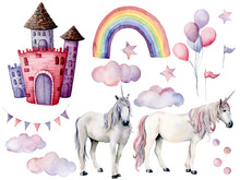 Watercolor Set With Unicorns A...