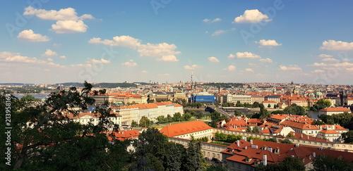 Staande foto Praag Krajobraz czeskiej stolicy, Pragi - widok z Hradczan w stronę wieża telewizyjna Žižkov