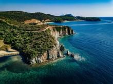 Aerial View Of A Rocky Coastli...