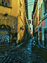 Small Vintage Italian Street. Big Size Oil Painting Pictorial Art. Modern Impressionism Drawing Artwork. Creative Artistic Print For Canvas Or Textile. Wallpaper, Poster Or Postcard Design.